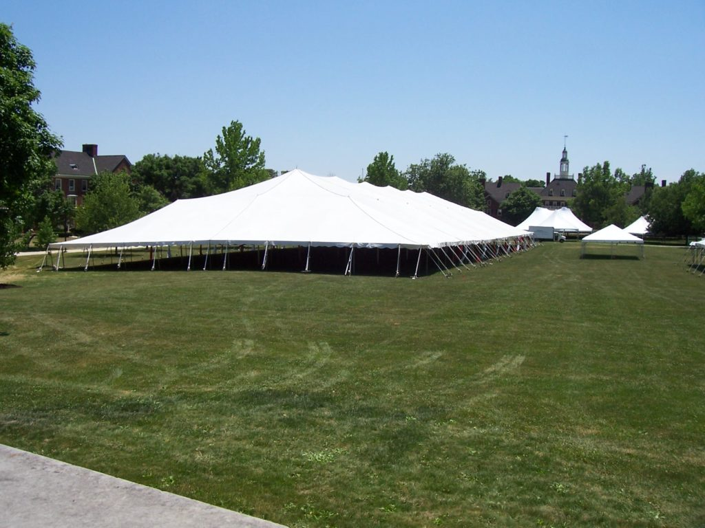 Traditional pole tents utilize aluminum center poles to support the weight of the vinyl tent top. Ratchet straps are tied to stakes around the perimeter of ... & Tent Rentals - Tent Styles u0026 Sizes | The Alleen Company