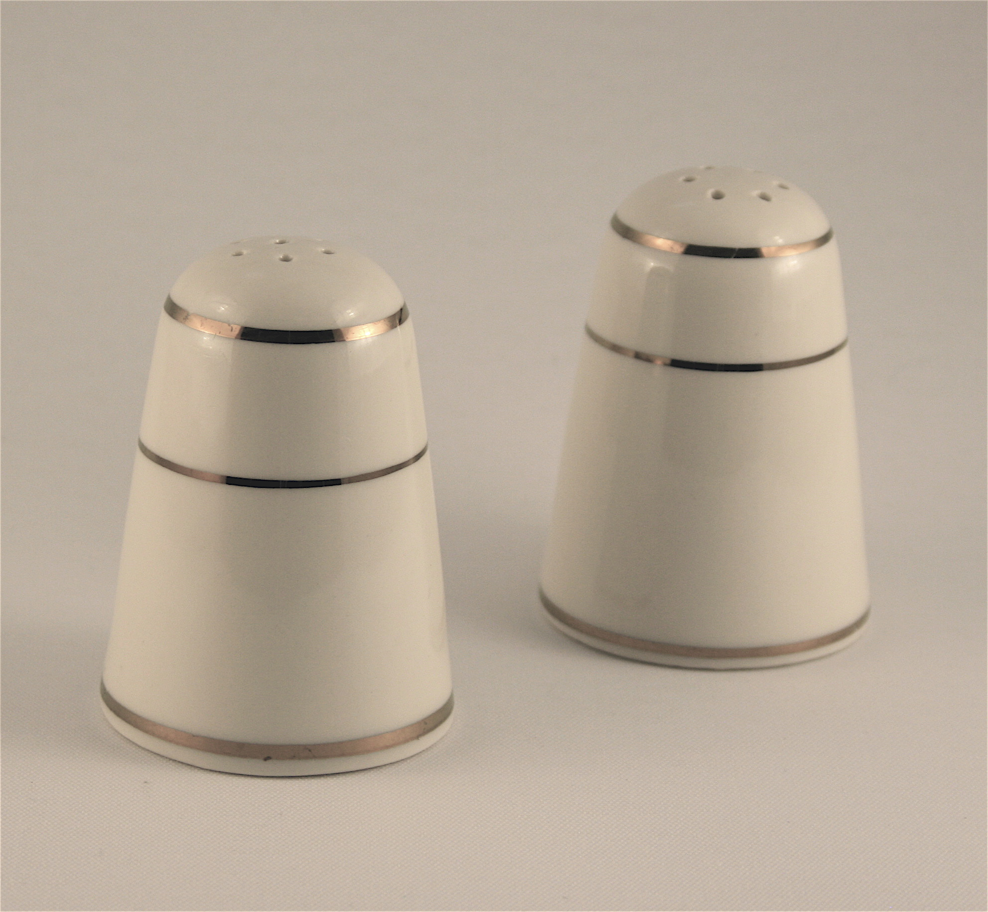 Salt and Pepper Shaker Ivory and Gold Alleen pany Catalog