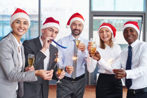 People having fun at a company christmas party