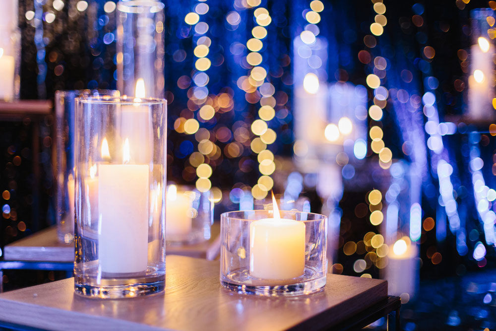 Candles on a table at a gala event