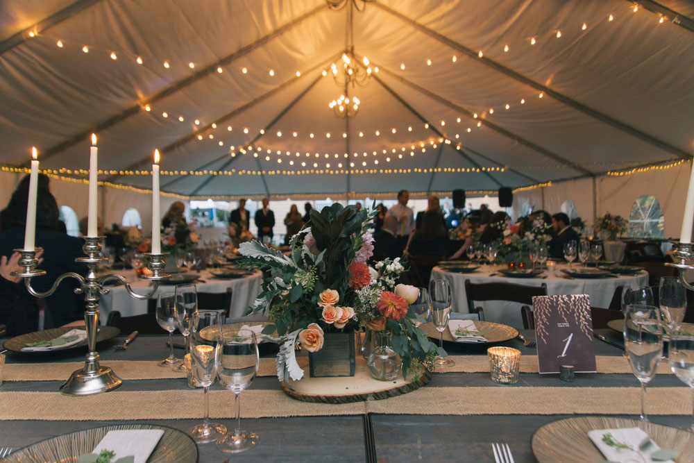Tent with centerpiece and lighting