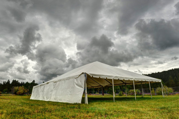 Event tent in storm
